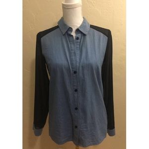 Denim Button Down Contrast Mesh Sleeves Sz.M
